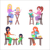 Set of Mothers and Children. Happy Mother Day Set. Royalty Free Stock Photo