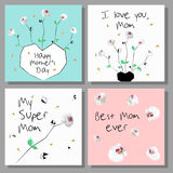Set of  Mothers Day artistic creative cards. Low poly style orchids flowers. Stock Image