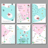 Set of Mothers Day artistic creative cards. Low poly style orchids flowers. Vector illustration vector illustration