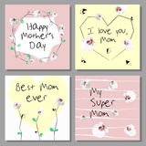Set of  Mothers Day artistic creative cards. Low poly style orchids flowers. Vector illustration Stock Photos
