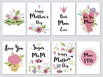 Set Mothers day cards Holiday romantic vector illustration hearts lettering flowers leaves branches collection. Set of Mothers day cards. Holiday romantic vector royalty free illustration