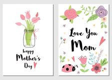 Set Mothers day cards love you mom printable design Decorative pink flowers Vecor. Set of Mothers day cards Love you Mom. Hand drawn romantic vector illustration vector illustration