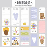 Set of Mothers Day cards and notes Stock Photos