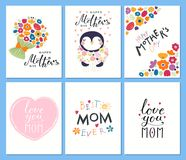 Set of Mothers Day cards royalty free illustration