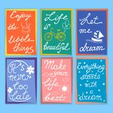 Set of motivation and inspirational quotes. Hand drawn letteri vector illustration