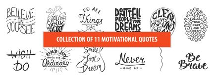 Set of motivational and inspirational vector hand drawn unique typography greeting cards, decoration, template, prints, banners. Set of motivational and royalty free illustration