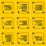 Set of motivational quotes. About action, goals, achievement, success and enthusiasm. Simple note design typography poster. Vector illustration Stock Image