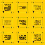 Set of motivational quotes. About enthusiasm, positive thinking, optimism, depression, happiness and success. Simple note design typography poster. Vector Stock Images