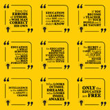 Set of motivational quotes. About intelligence, learning, education, errors, teacher, respect, genius, enthusiasm and personal development. Simple note design Royalty Free Stock Photos