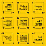 Set of motivational quotes. About potential, optimism, doubts, enthusiasm, action, success and dreams. Simple note design typography poster. Vector illustration Royalty Free Stock Image