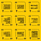 Set of motivational quotes. About serving, enthusiasm, action, helping, discipline and success. Simple note design typography poster. Vector illustration Royalty Free Stock Photos