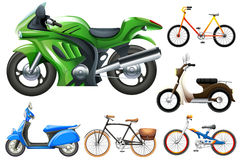 Set of motobike and bicycles Stock Image