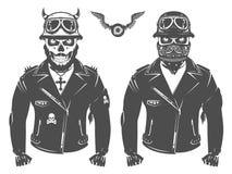 Set motocyklu rowerzysty rocznika stylu druk dla t koszula i tatuaż Fotografia Stock