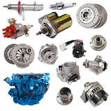 Set of motor and automotive parts. Isolated over white Stock Photos