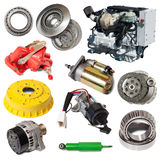 Set of motor and few automotive parts Stock Photo