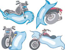 Set of motorbike templates with blue ribbons. Set of abstract no-brand motorbike templates with blue ribbons. Vector illustrations Stock Illustration