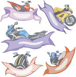 Set of motorbike templates with ribbons Stock Images
