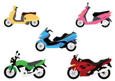 Set of motorbikes Royalty Free Stock Images