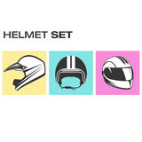 Set of motorcycle helmets. Sport, cross and racer helmet icons Stock Images