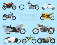Set of motorcycle icons. retro and modern flat bikes. racing and street motorbikes. scooter on white. Stock Images