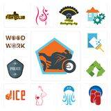Set of motorcycle shop, boxing gloves, jellyfish, maternity, dice, recycle, police badge, window cleaning, woodwork icons. Set Of 13 simple editable icons such Royalty Free Stock Photography