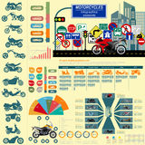 Set of motorcycles elements, transportation infographics Royalty Free Stock Image