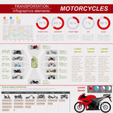 Set of motorcycles elements, transportation infographics. Vector illustration Stock Photography