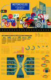 Set of motorcycles elements, transportation infographics Stock Photos