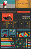 Set of motorcycles elements, transportation infographics Royalty Free Stock Images