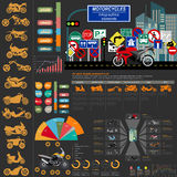 Set of motorcycles elements, transportation infographics Royalty Free Stock Photo