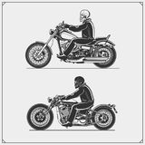Set of motorcycles. Emblems of bikers club. Vintage style. Monochrome design Stock Image