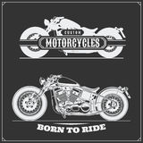 Set of motorcycles. Emblems of bikers club. Vintage style. Stock Photos