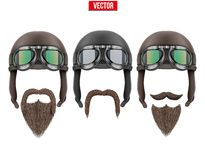 Set of motorcyclist with a beard and moustaches. Stock Photography