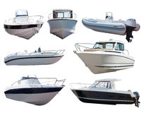 Set motorowe łodzie. Odizolowywający nad bielem Fotografia Royalty Free