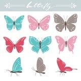 Set motyle na białym tle Ręki literowanie również zwrócić corel ilustracji wektora ilustracja wektor