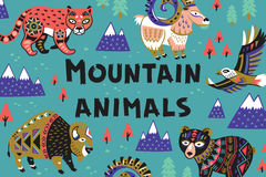 Set of mountain animals. Collection of mountain animals with ethnic, tribal ornaments. Vector illustration. Cute characters for children is design stock illustration