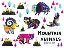 Set of mountain animals. Collection of mountain animals with ethnic, tribal ornaments. Vector illustration. Cute characters for children is design royalty free illustration