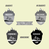 Set of mountain bike camping logo badge and banner. Bicycle for extreme lifestyle. Grayscale design. Royalty Free Stock Images