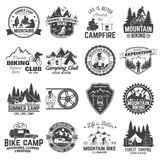 Set of Mountain biking and camping club badge. Vector. Concept for shirt, print, stamp or tee. Vintage typography design with mountain camp and mountain biker stock illustration