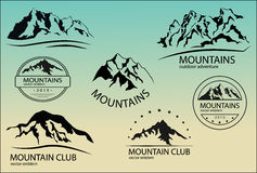 Set of mountain emblems. Design elements. Stock Photo