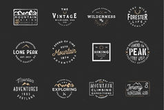 Set of mountain expedition badges, adventure labels. Vintage retro typography design. Outdoor wilderness logos, wanderlust badges. Set of mountain expedition Stock Photography