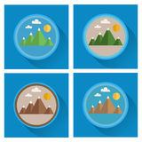 Set of mountain flat icons. Stock Photo