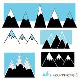 A set of mountain graphic icons stock image