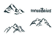 Set Mountain hand drawn logo. Vector design element in vintage style for logotype, label,tag, badge and other.  logo, symbol, icon Royalty Free Stock Images