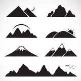 Set of mountain icons. On white background Royalty Free Stock Images