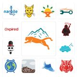 Set of mountain lion, tiger, shoes with wings, sierra, earth hour, nervous system, mister, grim reaper, expi icons. Set Of 13 simple editable icons such as Stock Photos