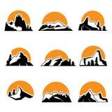Set of mountain logo with sunset. Vector illustrtation, isolated on white background. Stock Image