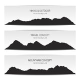 Set of mountain range banners. Vector illustration in black and Stock Images
