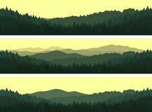 Set of mountain seamless backgrounds. Royalty Free Stock Image