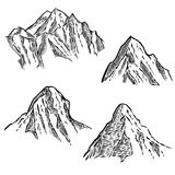 Set of mountain sketches. Design element for emblem, sign, label, poster. Royalty Free Stock Images